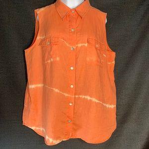 Chicos 2 Sleeveless Blouse Button Front Orange
